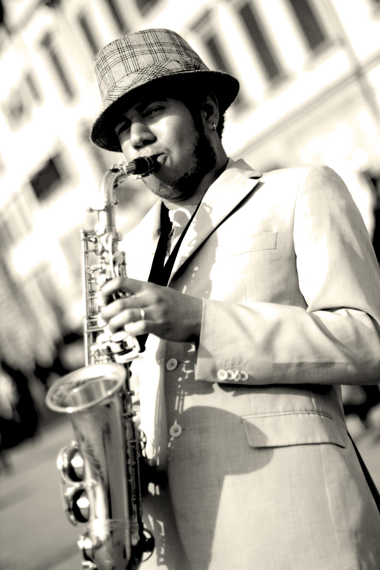 Jazzman à Florence (N&B)