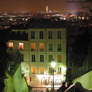 Escalier de Montmartre la nuit